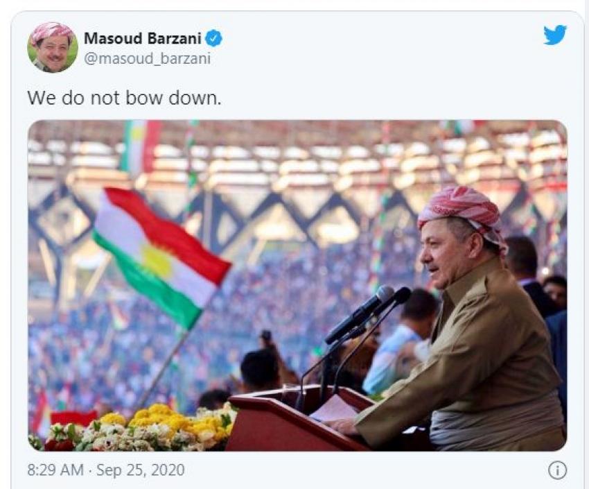 لهسێیهم ساڵڕۆژی ریفراندۆمی سەربەخۆیی كوردستان له تویتێكدا سەرۆك بارزانی: خۆ ناچەمێنین
